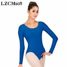 LZCMsoft mujer Spandex Nylon malla de manga larga para danza adulto azul real cuello redondo Mallas de gimnasia mono de Ballet clase