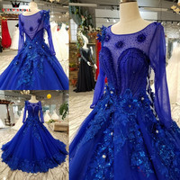 Ball Gown Long Sleeve Tulle Flowers Crystal Royal Blue Luxury Evening Dresses 100% Real Evening Gown 2018 Vestido De Festa KC70