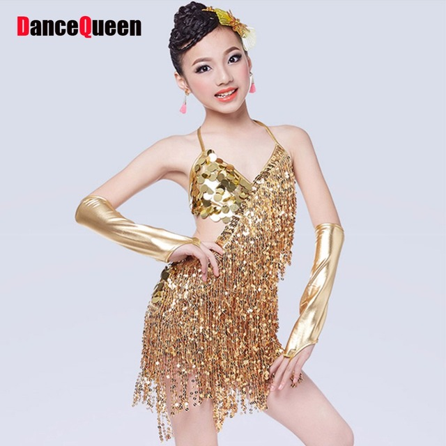 3b193bc7d3c80 Latin Dance Dress For Girls Sequins Cha Cha/Rumba/Samba/Tango/Ballroom Dance  Skirt Children Party Dress Stage Costumes Tassel