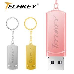 Новый usb флеш-накопитель 64 Гб TECHKEY pen drive 32 Гб металлический маленький U диск Флешка USB 2,0 memoria флеш-накопитель memoria Cel stick memory stick подарок