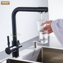 Фильтр XOXO для кухонного крана, черный смеситель, кран вращается на 360 градусов к кухонному водопроводу, характеристики 83027H