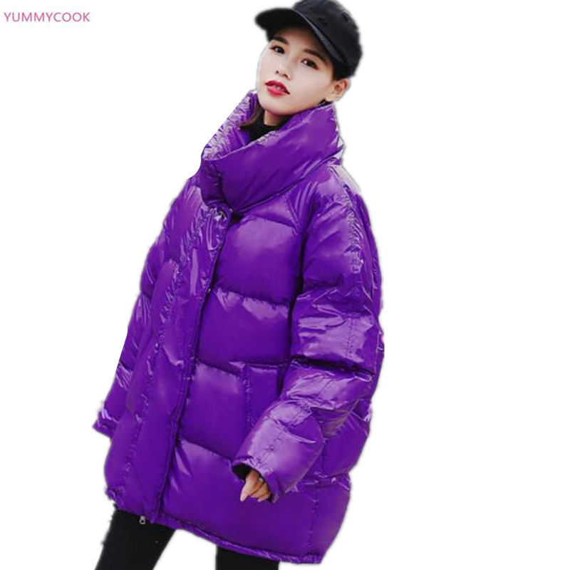 Winter new medium long purple thick loose Down cotton-padded jackets female winter windproof Standing collar snow Overcoats 289