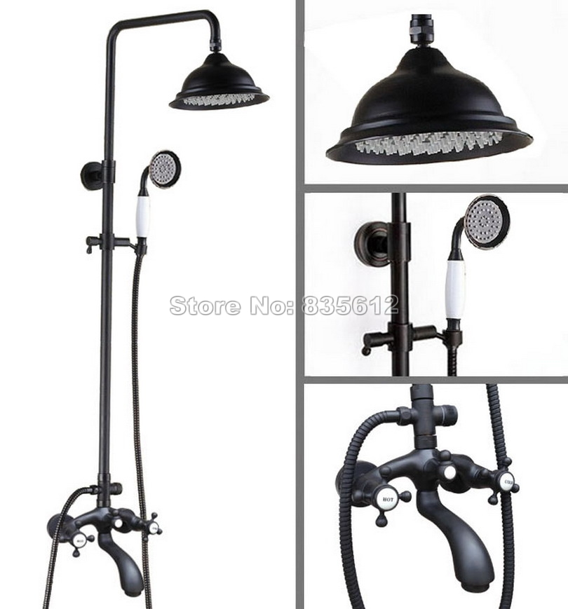 Black Oil Rubbed Bronze Wall Mounted Dual Handles Bathroom Rain Shower Faucet Set with Hold Shower Bath Tub Mixer Tap Whg114