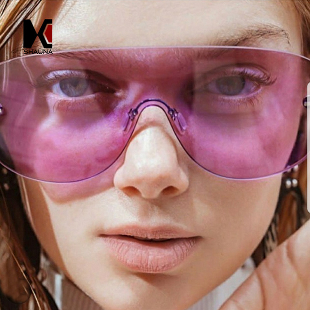 Шауна негабаритный встроенным объективом солнечные очки Для женщин без оправы стекло конфетного цвета модные Для мужчин прозрачный с фиолетовыми стеклами оттенки UV400