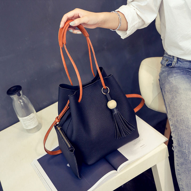 Women Bags Composite-Bags Messenger-Bag Female Clutch Feminina PU 2pcs-Set Bolsas Sac