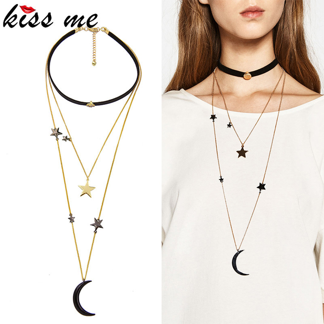 Three Layers Moon and Stars Choker Necklace in Antique Gold Color