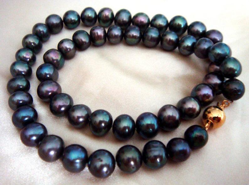 Beau collier naturel de perles de tahiti noir vert 10-11mm 18 poucesBeau collier naturel de perles de tahiti noir vert 10-11mm 18 pouces
