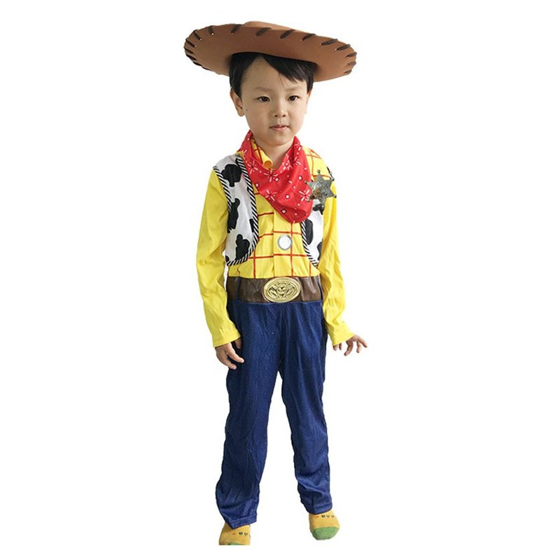 New Arrival Boys Captain Woody Cosplay Clothing Animated Cartoon Toy Story Costume Halloween Children Detective Dressing -up