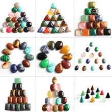 Natural Gem Mixed Oval Round CAB CABOCHON Stone Teardrop Beads For Jewelry Making DIY Handcrafted Ring 10/20pcs