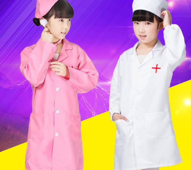 90-160cm Children Halloween Cosplay Costume Kids Doctor Costume Nurse Uniform Girls With Hat +Mask birthday gift