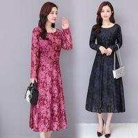 Plus Size New Spring Women Jacquard Dress Elegant Red Printed Sexy O Neck Vintage Long Sleeve Boho Velvet Dresses Vestidos