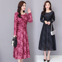 Plus Size New Spring Women Jacquard Dress Elegant Red Printed Sexy O Neck Vintage Long Sleeve Boho Velvet Dresses Vestidos