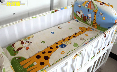 Promotion! 5PCS mesh  Cotton Baby Bedding Set Cartoon Kids Bedding Set for Girl Bed Sheet ,include:(4bumper+sheet)