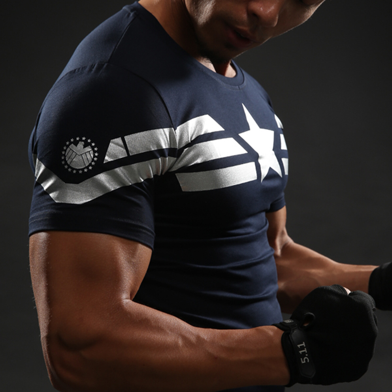 captain america star compression shirt superheroez. Black Bedroom Furniture Sets. Home Design Ideas