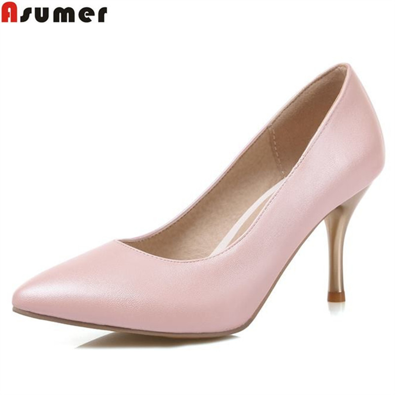Asumer Plus size33-47 new slip on women pumps pointed toe sexy solid color party wedding shoes woman ladies classic summer shoes