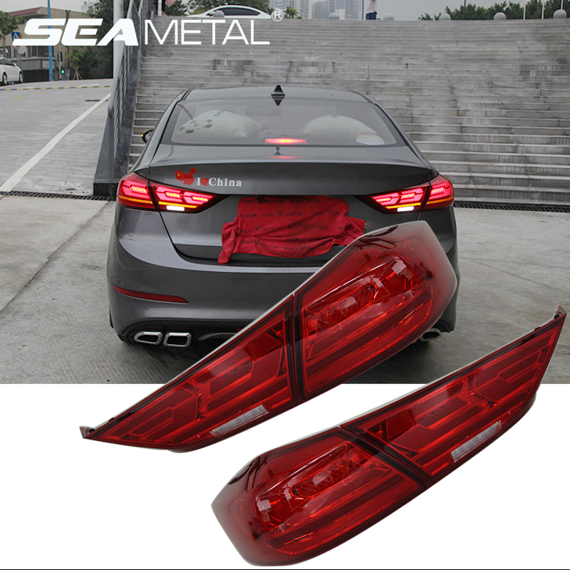 Car Taillights Assembly For Hyundai Elantra 6 AD 2019 2018 2017 12V LED Light Rear Tail 2pc Lamps Braking Automobile Electronic