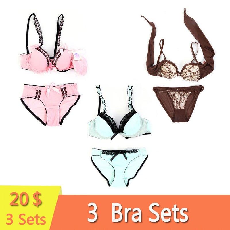 3 Sets Pack Women Bra Set Multiple Styles Plus Size Padded Push Up Bra Unlined Underwear