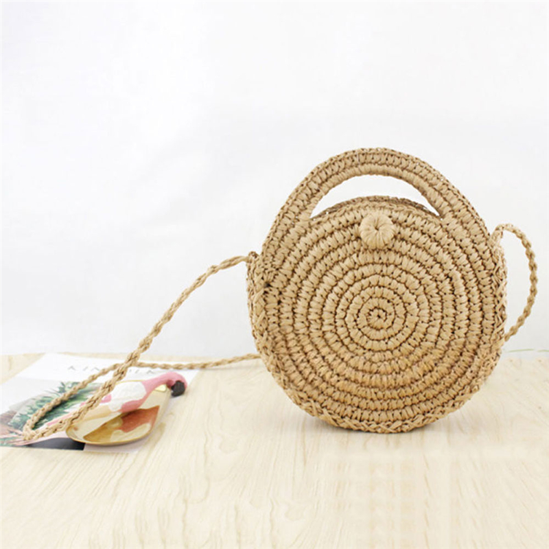 Duopindun Bolso Mujer Straw Bag Summer Holiday Beach Round Type Popular Hot Selling Handwoven Rattan Circle Women Bamboo Satchel