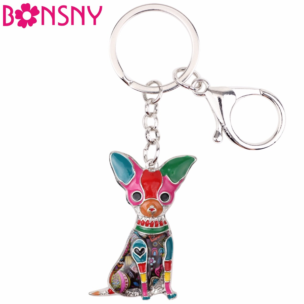 Bonsny Enamel Alloy Sitting Chihuahuas Dog Key Chain Keychain Rings Gifts For Women Girls Bag Car Pendant Fashion Animal Jewelry