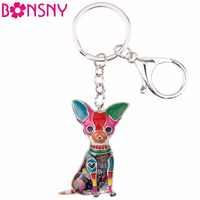 Bonsny Enamel Alloy Sitting Chihuahuas Dog Key Chain Keychain Rings Gifts For Women Girls Bag Car Pendant Fashion Animal Jewelry