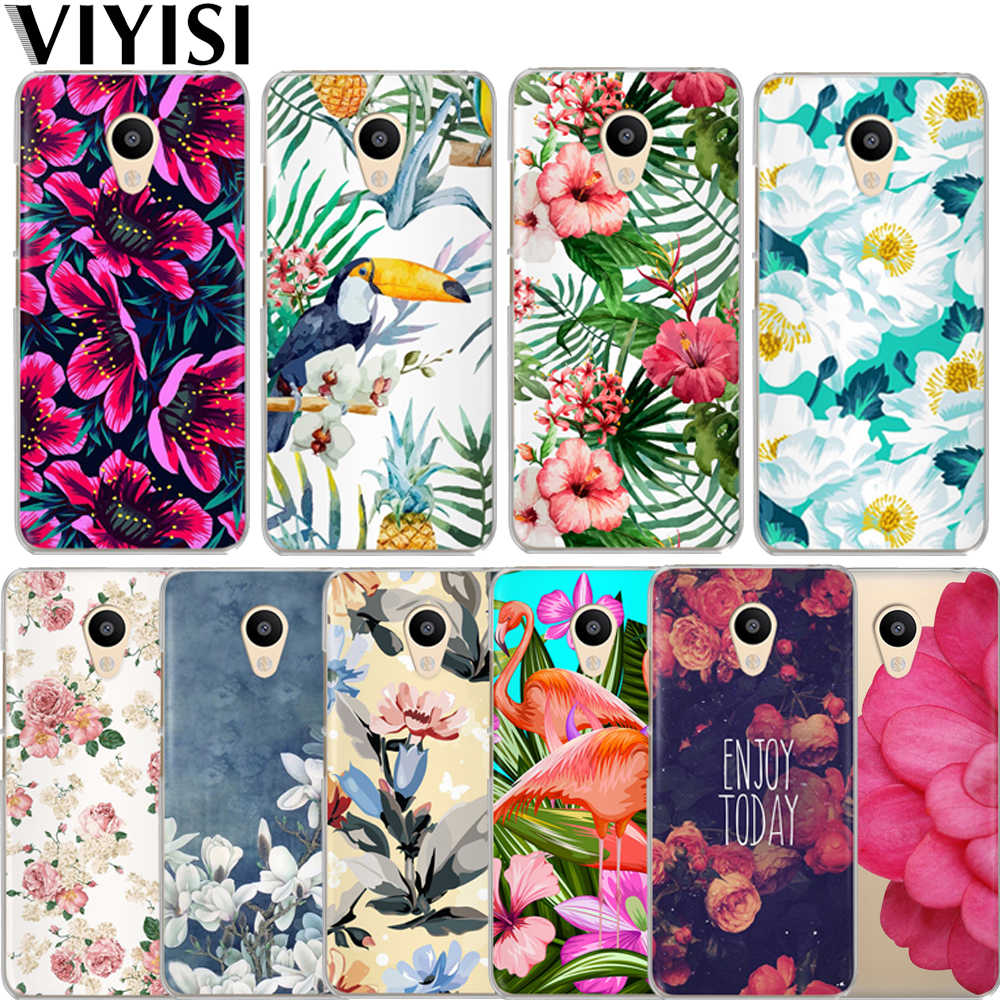 VIYISI plantas tropicales para Meizu M6 5 teléfono caso M5S 5C M3s 3 Nota Pro6 U10 U20 cubierta Coque flor aves de
