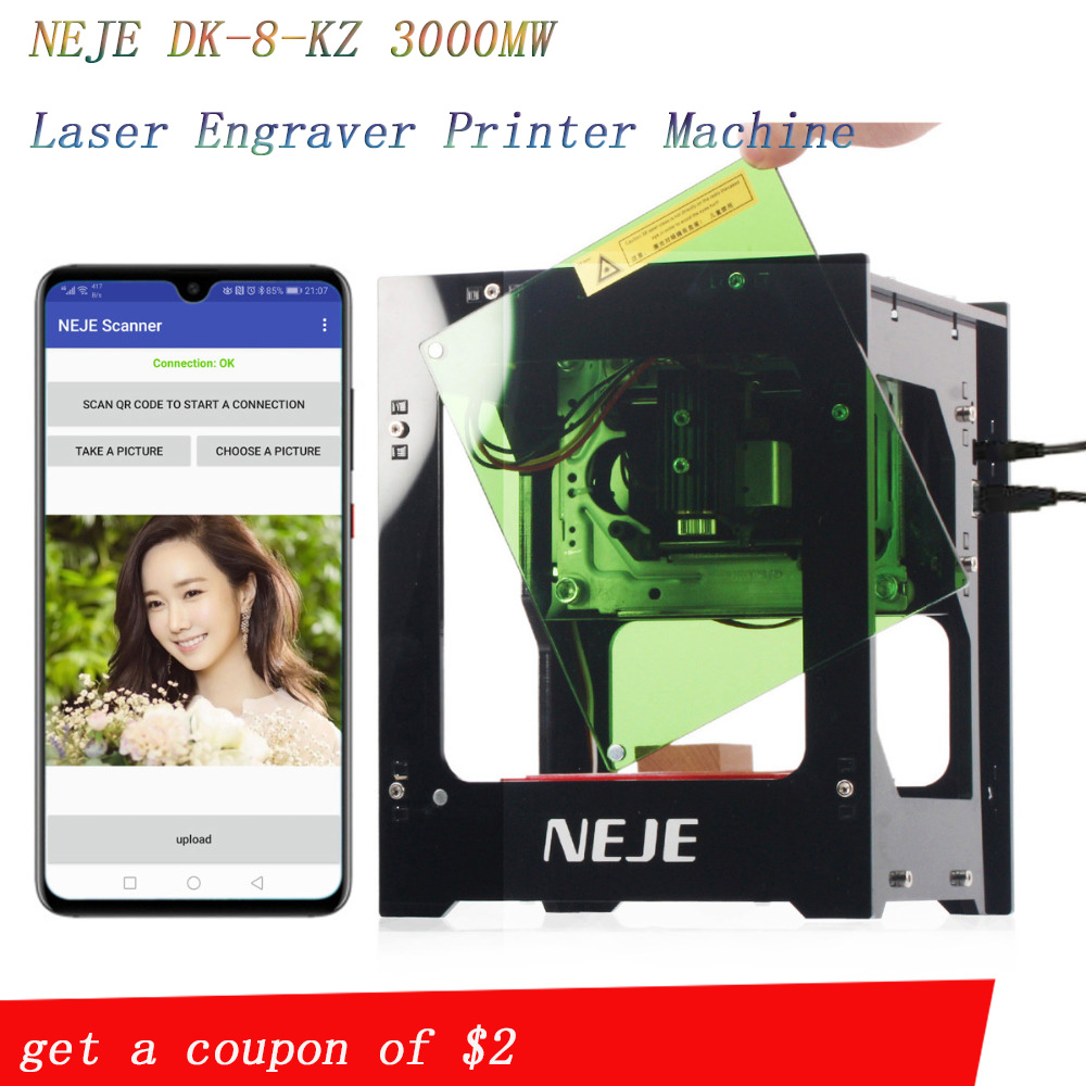 NEJE 2019 hot selling new 3000mw 445nm Ai laser engraver Wood Router DIY Desktop Laser Cutter Printer Engraver Cutting Machine