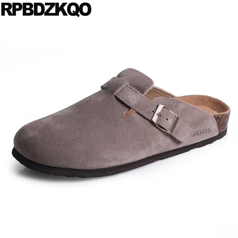 Pointure 46 glissières marron plage liège japonais rouge chaussures pantoufles Designer Mules plates bout fermé 45 gros hommes sandales cuir eté