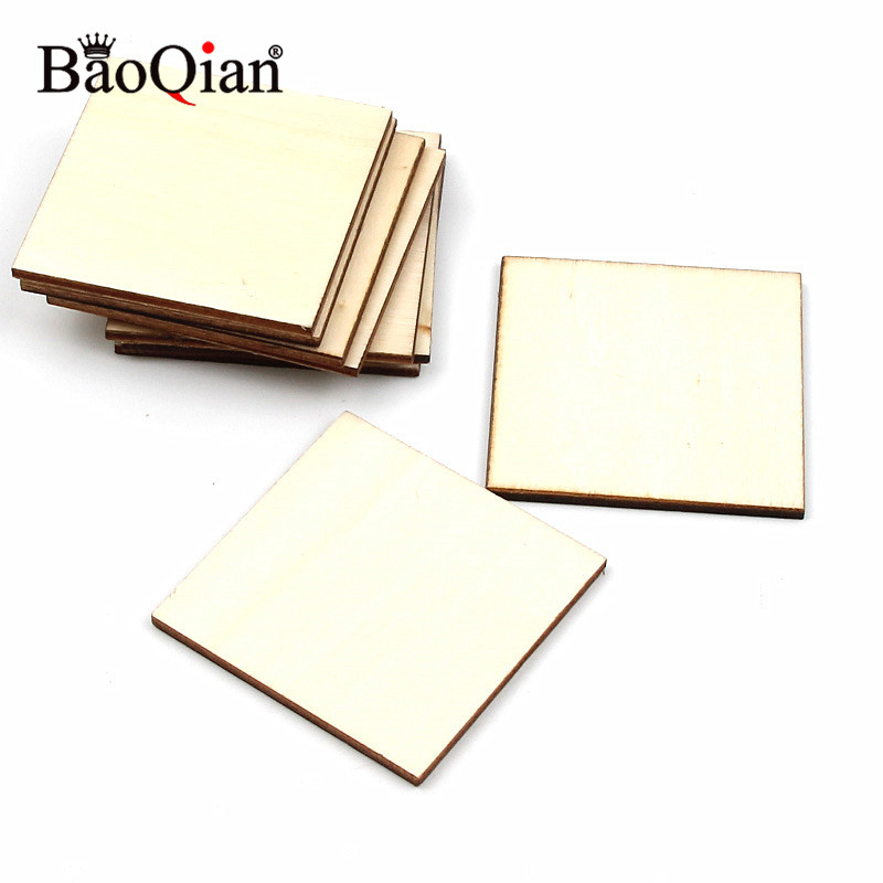 20Pcs 50mm Blank Plaque Square DIY Craft Decoration Pyrography Projects Games Scrapbooking Unfinished Wood Pieces