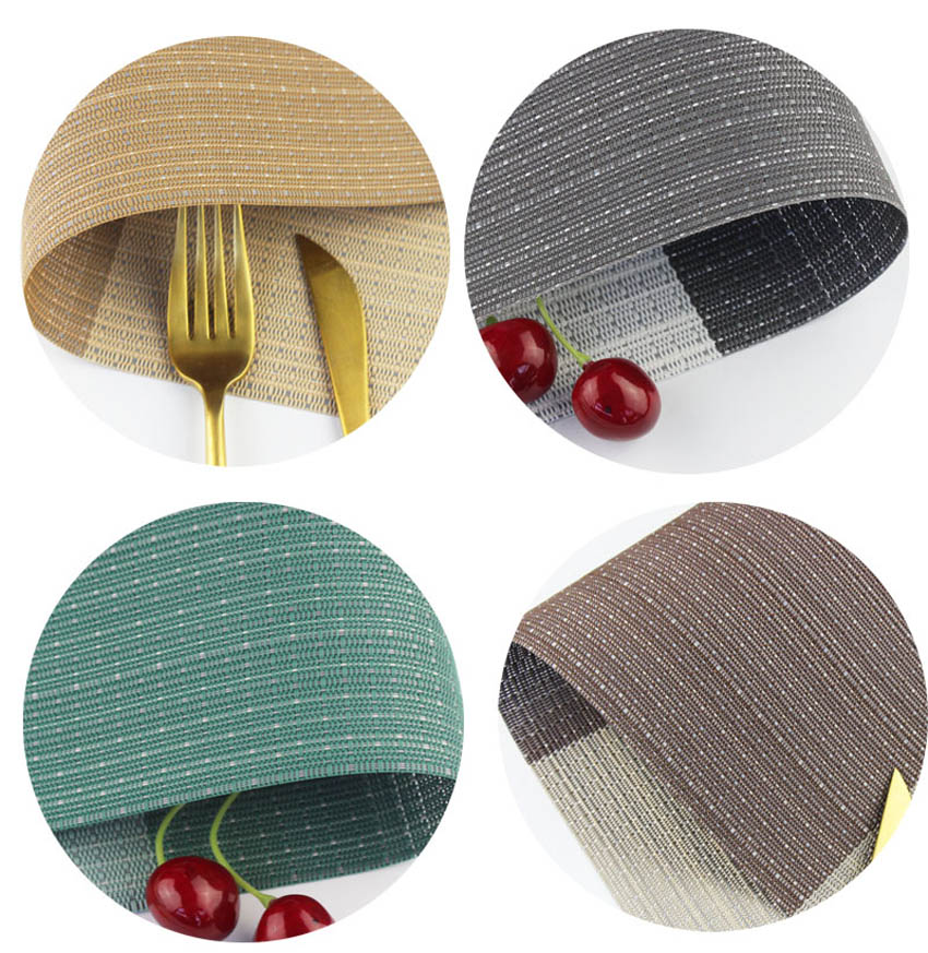 WHQ 2 4 6 Pcs lot Plaid Striped Rectangle Placemat PVC Dining Table Fashion Disc Pads Bowl Pad Coasters Waterproof Table Pad in Mats Pads from Home Garden