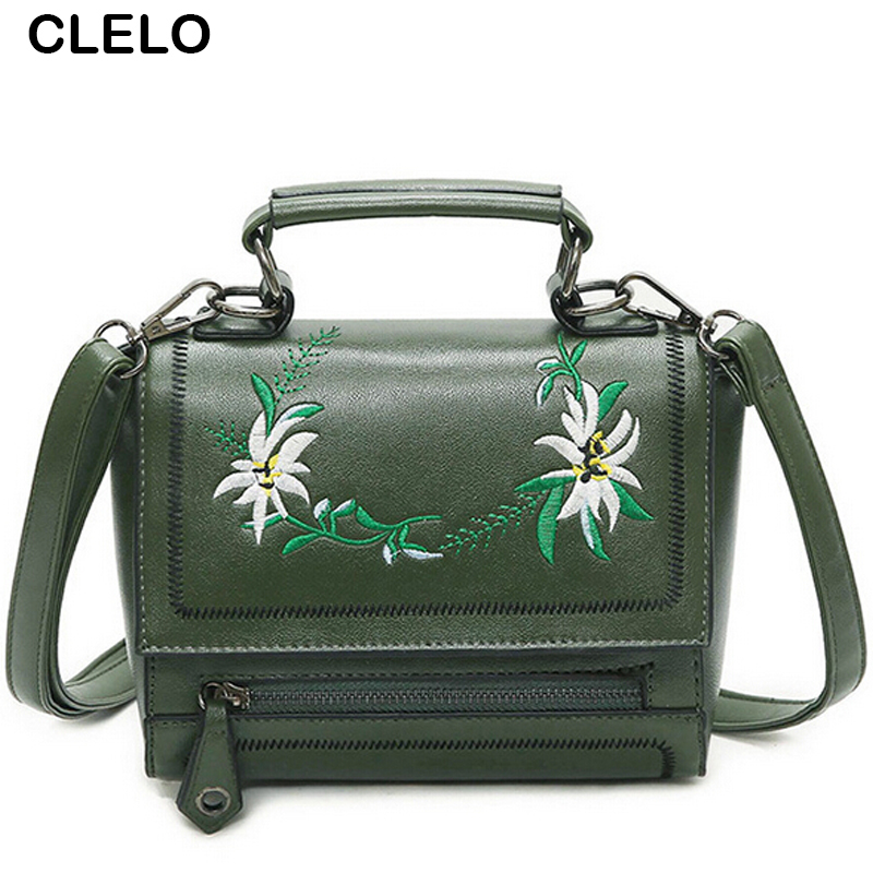 CLELO Designer Bag Women Brand Flap Small Pu Leather Bag Female Top-handle Shoulder Bags Handbag Vintage Flower Embroidery Bag пудра by terry terrybly densiliss compact 1 цвет 1 melody fair variant hex name fdcbb0