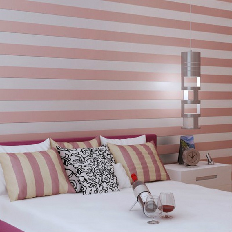 beibehang High-grade non-woven flocking wallpaper modern minimalist decoration plain striped wallpaper backdrop living room beibehang blue wallpaper non woven