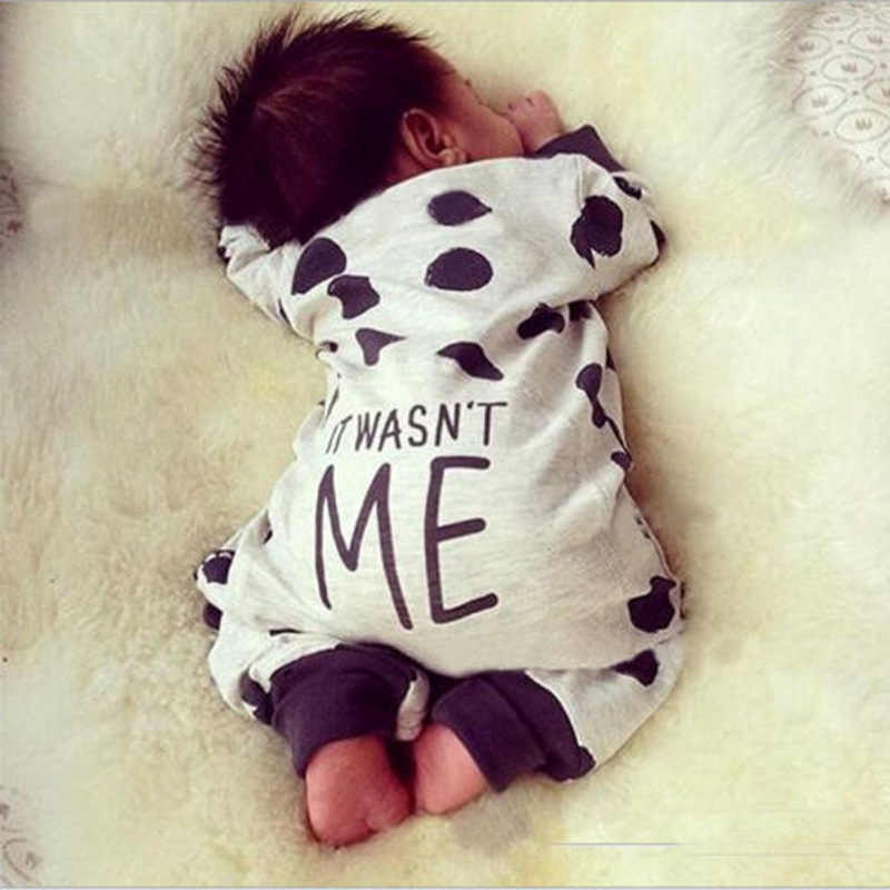 Baby Boy Romper 2018 Spring Infant Pajamas It wasn't me printed Cotton Long sleeves climb clothing Newborn Baby boy girl suit