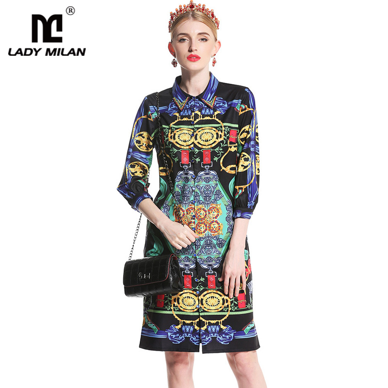 New Arrival 2018 Womens Beaded Turn Down Collar 3/4 Sleeves Printed Sash Belt Fashion Casual Dresses