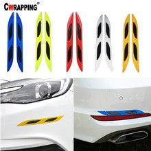 цены 2Pcs Carbon Fiber Auto Front Rear Bumper Reflective Safety Warning Strip Mark Secure Reflector Car Stickers Decals Car Styling