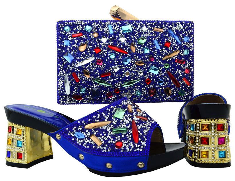 ФОТО Royal Blue African Women Dress Shoes With Matching Bag Fashion High Heels Italian Shoes With Matching Clutch Bag BCH-18