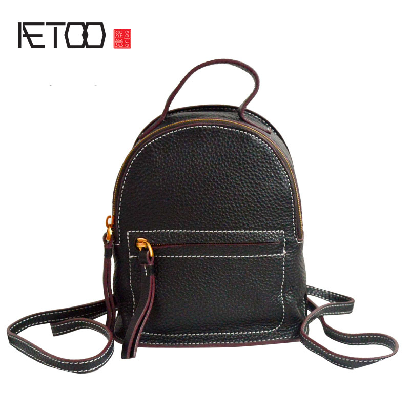 AETOO The first layer of leather shoulder bag leather 2017 new Korean version of the wild retro shoulder portable mini aetoo first layer of leather shoulder bag female bag korean version of the school wind simple wild casual elephant pattern durab