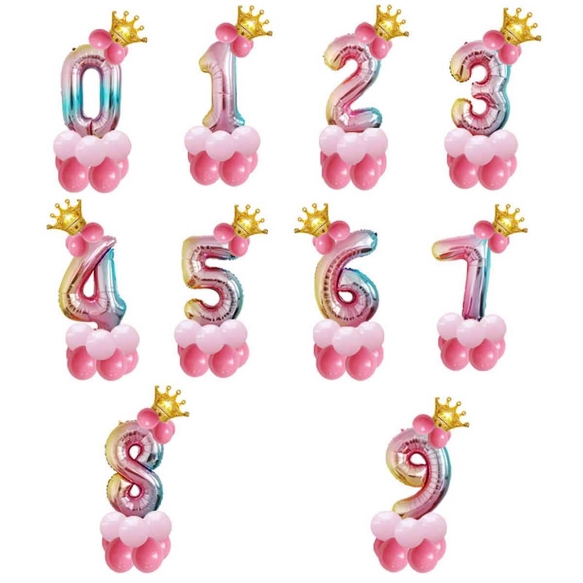 14Pcs Number Air Baloon Birthday Balloons Birthday Party Decorations Kids Foil Ballon Figures Baloon Balls Babyshower