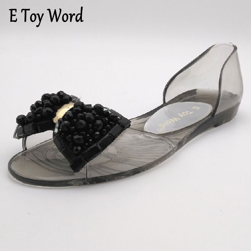 E TOY WORD Fashion jelly Flat Shoes Women Sandals Bowtie Open-Toe Soft Bottom Women Casual Sandals Crystal Zapatilla Mujer hee grand soft transparent jelly women sandals flat with crystal colorful rhinestones butterfly knot beach shoes xwz3446