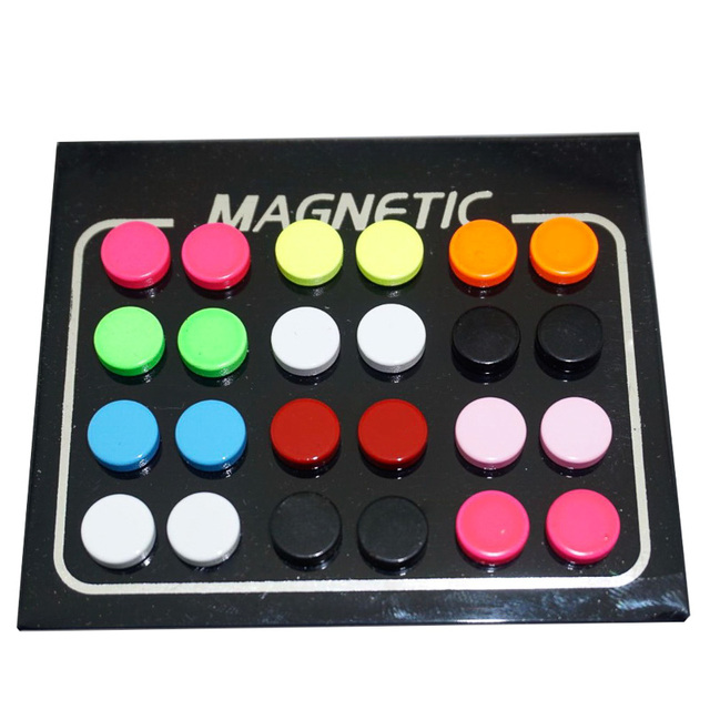 12 Pair lot 6 8 10mm Round Colorful Magnet Stud Earring Puck Womens Mens Magnetic Fake.jpg 640x640 - 12 Pair/lot 6/8/10mm Round Colorful Magnet Stud Earring Puck Womens Mens Magnetic Fake Ear Plug Jewelry