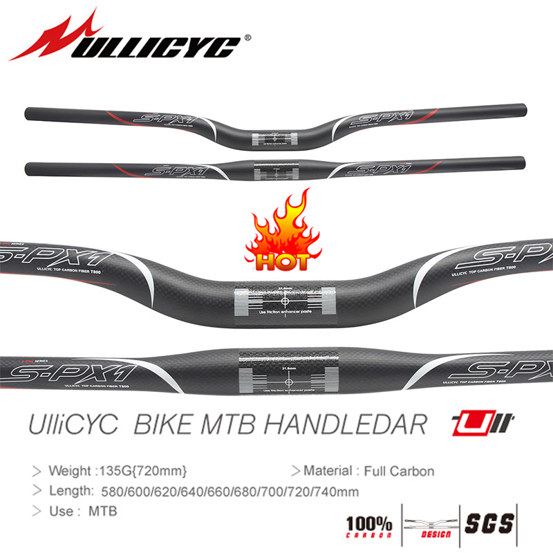 HOT Sale SPX1 Ullicyc Mountain Bike Part 3K Full Carbon Handlebar(Flat/Rise)31.8*580/600/620/640/660/680/700/720/740mm free ship