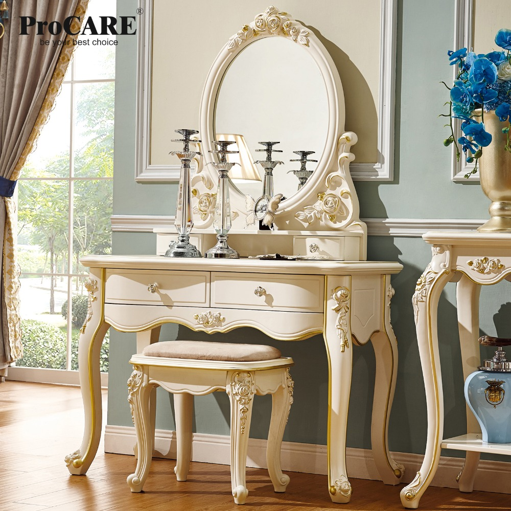 luxury European and American style bedroom furniture ivory,white, French dressing table with chair bedroom home furniture dresser table with 2 drawers mirror and stool neoclassical style kd packaged wooden carved materials