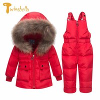 TWINSBELLA 2018 New Children's 2PCS Suit Down Jacket Long Sleeve+Pants Solid Fur Collar Clothes Sets Toddler Winter Warm Costume
