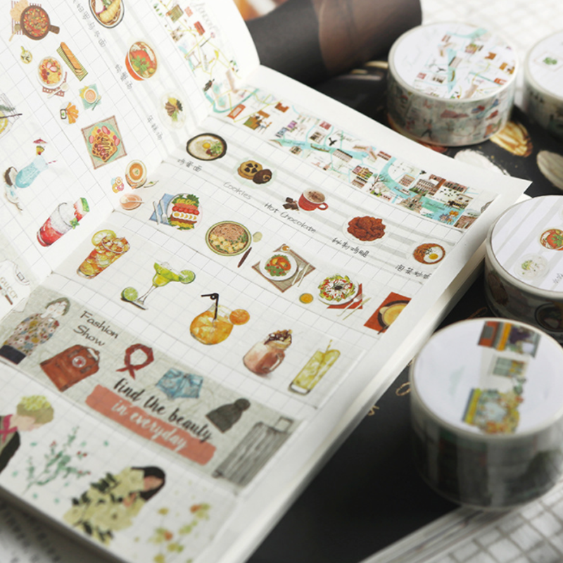 1 Pcs Kawaii Fresh Art Food And Life Washi Tape Adhesive Tape DIY Scrapbooking Sticker Label Masking Craft Tape