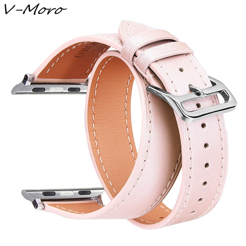 For Apple Watch 38MM Bands V-MORO Genuine Leather for iwatch band 42mm Straps Double Tour For Apple Watch Bands 42mm Watch Strap eache 38mm 42mm dark brown replacement watch straps fit for apple watch vegetable tanned leather watch band for women or man