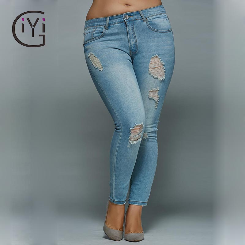 цены  GIYI Plus Size 5xl 4xl Mid Waisted Skinny Distressed Jeans Women Sexy Ripped Denim Pants Femme Slim Trousers Ladies Summer 2017