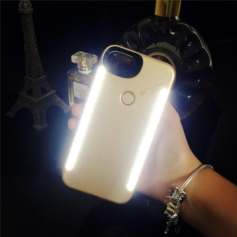 Pour iPhone X 6 s anti-chute 3 générations Lumière Up selfie flash téléphone Cas le flash Protecteur Couverture Sac pour Samsung s8 s9 plus