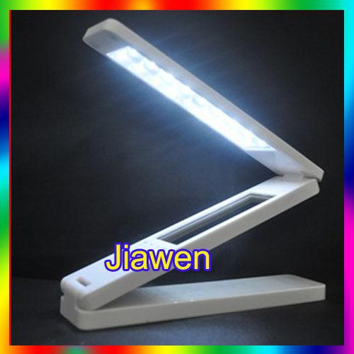 Leitura dobrável LED candeeiro de mesa com calendário e alarme, toque recarregável lâmpada de mesa com porta USB de carregamento