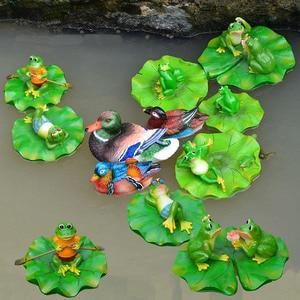 Image 2 - Creative Resin Floating Frogs Statue Outdoor Garden Pond Decorative Cute Frog Sculpture For Home Desk Garden Decor Ornament