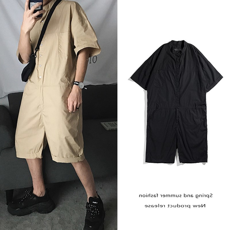 Romantic Summer Hip Hop Short Sleeve Rompers Male Loose Tooling Jumpsuit Cotton Punk Baggy Overalls Men Street Dancing Bib Pants At Any Cost Blouses & Shirts