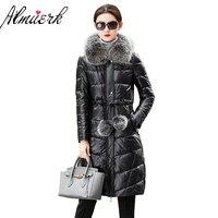 2017 Plus Size 4xL Long Winter Jacket Women Real Leather Overcoat Fox Fur Hooded Outerwear Sheepskin Leather Coat Female yz359